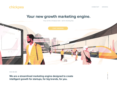Illustration for the Chickpea.global digital site cover art noise web ui hero header texture character download freebies illustration