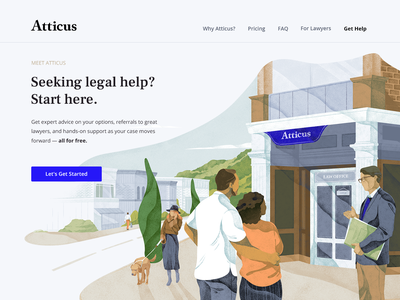 Illustration for the atticus.law web site team web ui design cover blue character freebies hero header texture noise download illustration