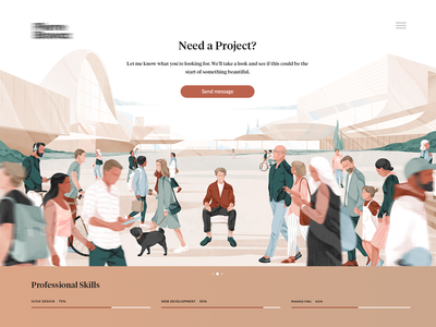 Personal illustration for my client Pierre Bravoz peoples portfolio ui team cover texture character freebies header illustration header banner hero banner hero download noise illustration