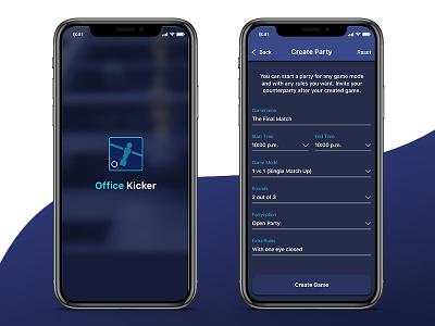 Office Kicker II ball kicker football reservation app screens ui concept ux icon system tool