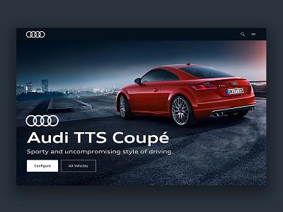 Audi TTS Coupé Landingpage audi interface landingpage flat ui ux car app dekstop minimal smart