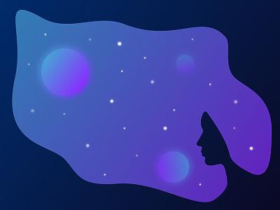 A Head Full Of Dreams planet stars design girl head dream illustration