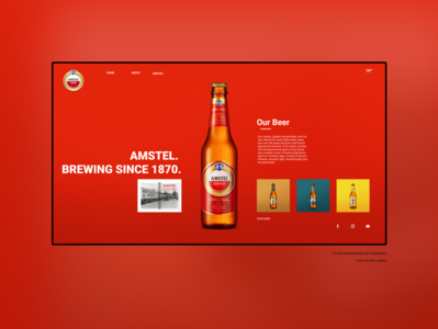 Home page - AMSTEL party cocktail bottle theme drink food modern clean web board card shopify kickstarter eccomerce brand branding beer label beer