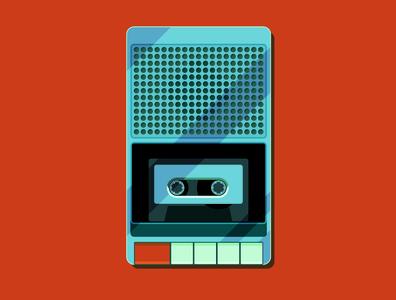 Cassette Player minimalist icon clean design minimal flat graphic design illustrator vector illustration