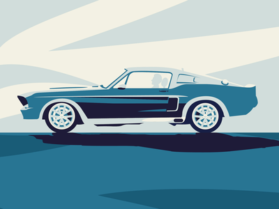 Mustang wacom sketch draw creative clean icon color blue minimal flat graphic design art vector design illustration