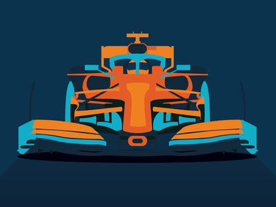 Formula One abstract icon f1 flat orange blue clean minimal design graphic design vector illustrator illustration