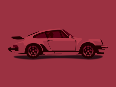 Porsche 911 whaletail wacom car dribbble digital art clean brand icon black red color minimal flat creative art vector design illustration
