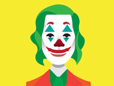 The Joker abstract minimal icon dribbble wacom clean character design gradient flat graphic design vector illustrator illustration