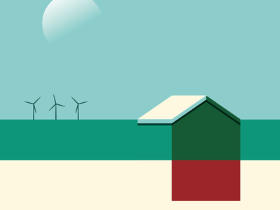 Beach hut landscape green dribbble clean flat color wacom icon minimal art sketch vector illustrator illustration