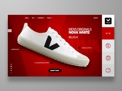 E-commerce landing page concept for VEJA