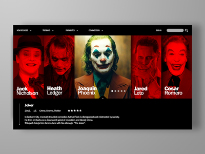 Movie character database UI concept sketch photoshop red icon dribbble design dailyui concept app design website flat web app ux ui