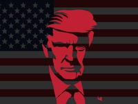 US President Donald Trump vector portrait, inspired by GodFather