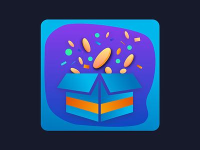 Bonus icon coins box orange blue game icon present gift bonus