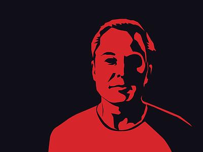 Elon Musk vector portrait silhouette red illustration musk elon musk vector portrait