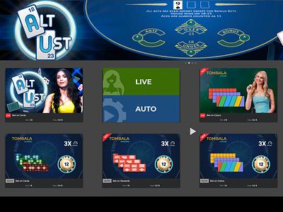 Game Lobby design live game banners online casino dealer girls cards game casino design