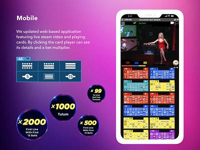 Mobile screen for bingo game circle illustration multiplier card lottery bingo ui design game