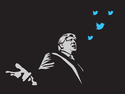 Trump tweeting some fresh news news logo design trump blue vector icon portrait