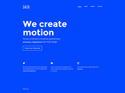 zazu.tv website ui design motion typography blue cobalt website