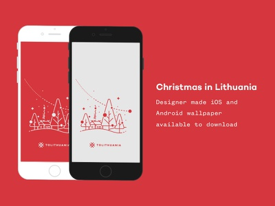 Christmas in Lithuania wallpaper vector mobile map lithuania line art linear landscape iphone illustration holiday android