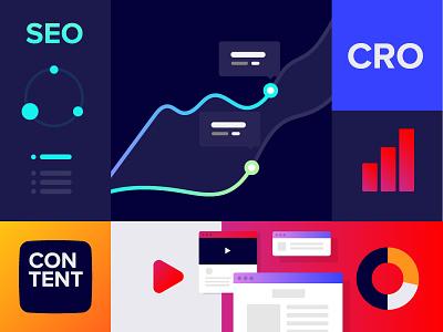 Dynamic social media cover illustrator gradient neon bold grid cover media social