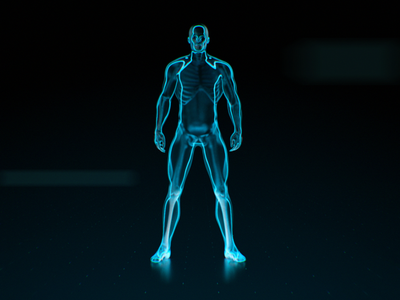 Male Athlete styleframe character mograph styleshot motion glow bones body cinema4d 3d male