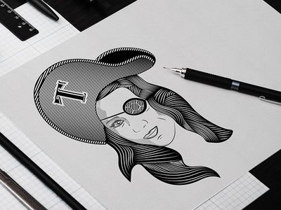 Tortuga Tavern line art eye patch turtle tavern girl pirate sketch drawing