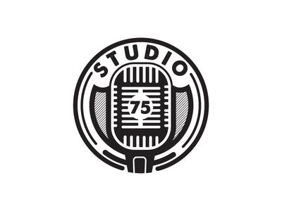 Studio 75 audio musician logotype retro icon round music studio vintage badge logo microphone