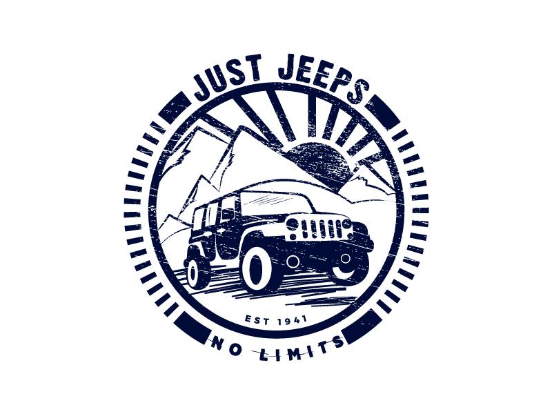 Just Jeeps Identity Design car retro icon sun mountain logotype badge adventure jeep