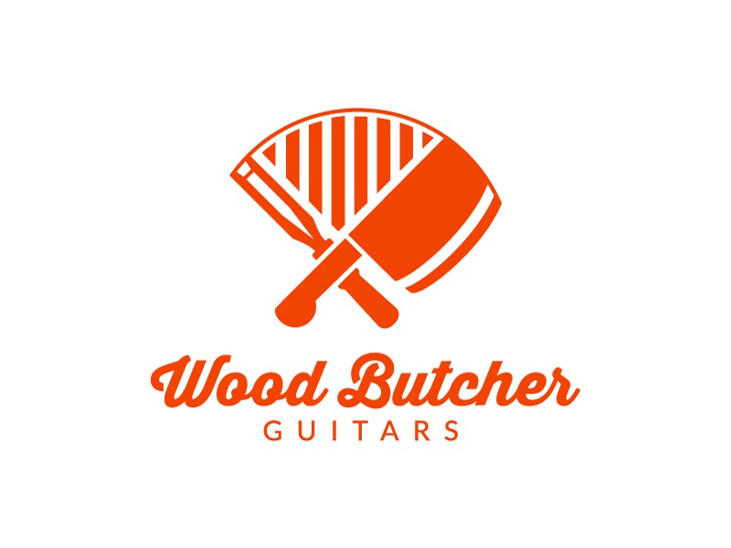 Wood Butchers Guitars orange type heritage identity brand logotype chisel cleaver butcher guitar wood