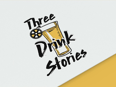 Three Drink Stories brush font logo icon reel film stories movie tequila shot drink