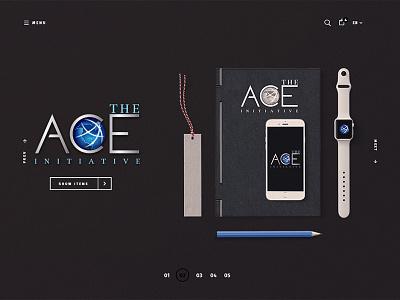 The Ace Initiative mockup earth entrepreneur brand ace glob logo logotype