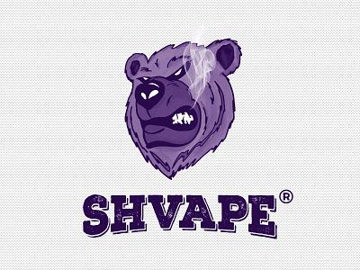 Shvape drawing angry bear vape illustration smoke logotype vaping bear