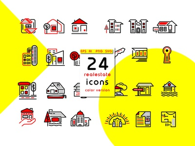 Real Estate Icons Vol 01 sun roof architecture form tree key building sale house icons real estate