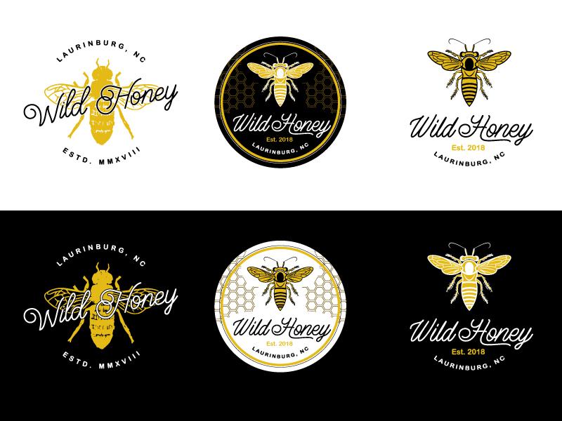Wild Honey bees hexagon badge logo vintage insects organic working bee honey wild
