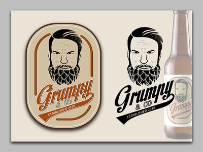 Grumpy & Co. grumpy men hops logo bearded vintage beer