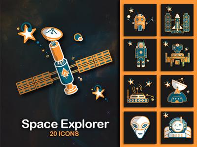 Space Explorer icons mars rover rocket planets astronaut satelite ufo galaxy explore univers icons space