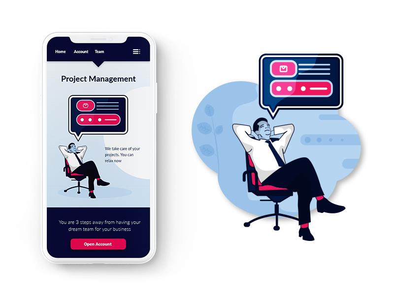 Relax Illustration ui design mobile phone men app office splash screen relax