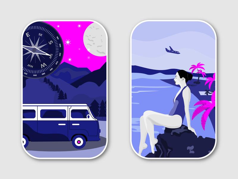 Travel Illustrations paradise swing girl summer holidays palm tree moon compass minivan landscape mountain wildlife beach tent nature travel