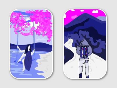 Travel Illustration 4 tree walking camping wildlife freedom landscape mountains nature girl swinging swing beach summer backpacking backpacker illustration travel