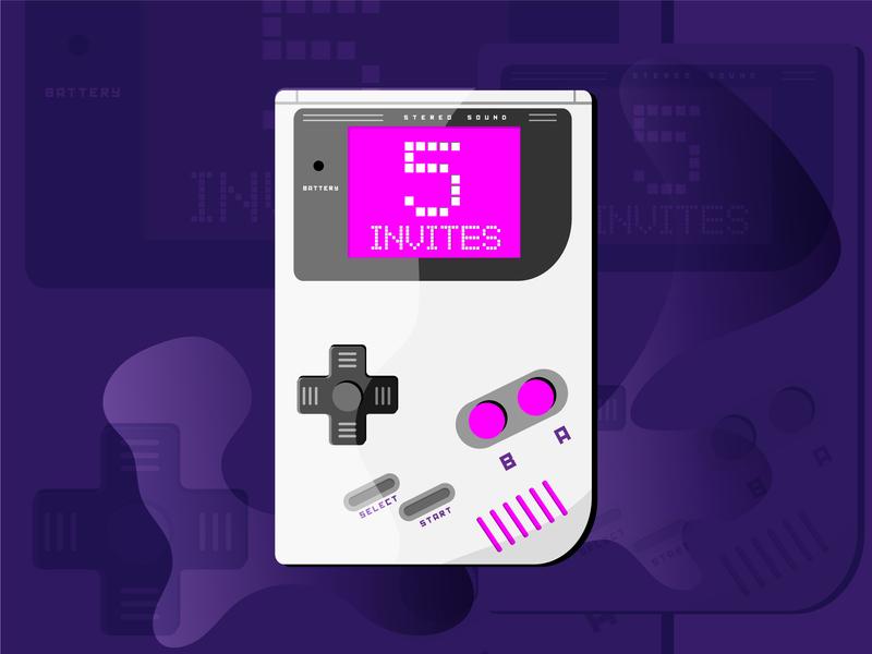 Dribbble Invites good times dribbble game play 80s illustation gameboy designer invitation invite