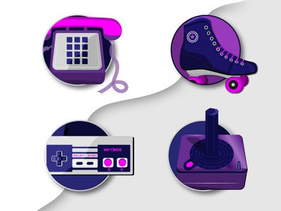 80s Nostalgia vector 80s nostalgia 80s  illustrations collection icons play game roller skates atari nintendo joystick wire phone illustation 80s
