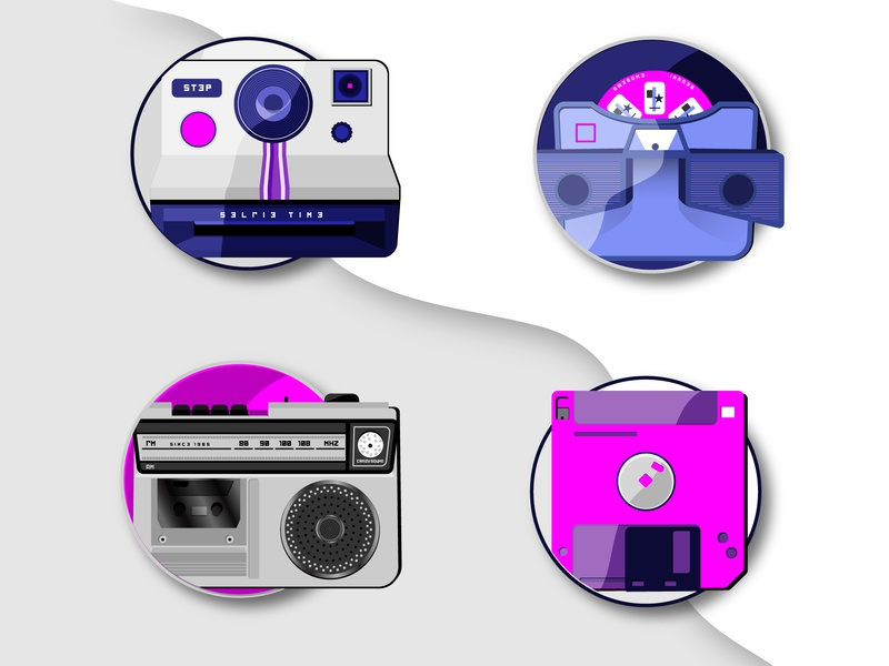 80s Nostalgia 2 vector icons set collection photography cassette viewmaster polaroid boombox diskette 80s icon illustration