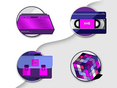 80s Nostalgia 3 illustration vcr video tape tape 80 collection vector school bag rubiks cube vhs tape atari rubik 80s