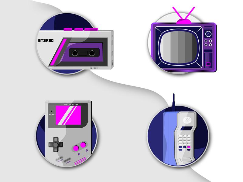 80s Nostalgia 4 play music old tv illustation icons gameboy 80s old phone tv walkman