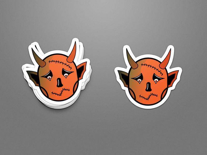 Sad Little Devil illuatration horns stiches halloween devil sticker