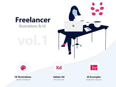 Freelancer Illustration Pack Vol 01 vector adobe xd ui examples app mobile office ui kit illustrations freelancer