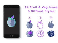 FREE - 24 Fruits & Vegetables Icons