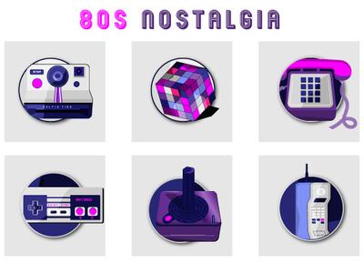 FREE 80's Nostalgia Icons video tape vhs tape rubik phone atari gameboy illustrations icons 80s