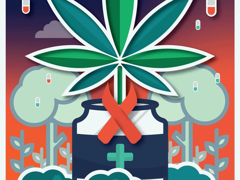 Medical Cannabis Illustration alzheimer remedy natural nature rain illustration cancer medicine cannabis packaging cannabis medical