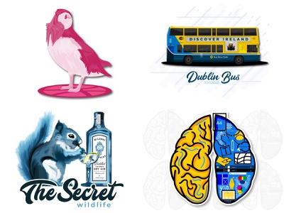2018 vector artwork transport cocktail gin designers mind bus brain squirrel illuatration